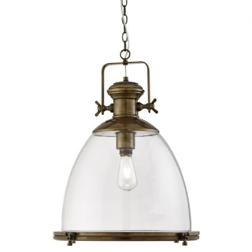 Industrial Pendant Large 1 Light , Painted Antique Brass, Clear Glass 6659